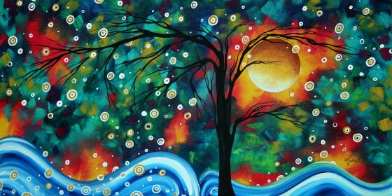 abstract-art-original-landscape-painting-bold-circle-of-life-design-dance-the-night-away-by-madart-megan-duncanson